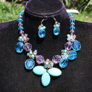 Dressy Boho Turquoise Bead Statement Necklace Set